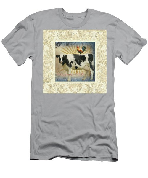 Men's T-Shirt (Athletic Fit) featuring the painting Farm Fresh Damask Milk Cow Red Rooster Sunburst Family N Friends by Audrey Jeanne Roberts