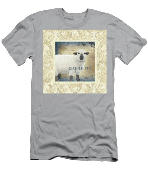 Men's T-Shirt (Athletic Fit) featuring the painting Farm Fresh Damask Sheep Lamb Simplicity Square by Audrey Jeanne Roberts