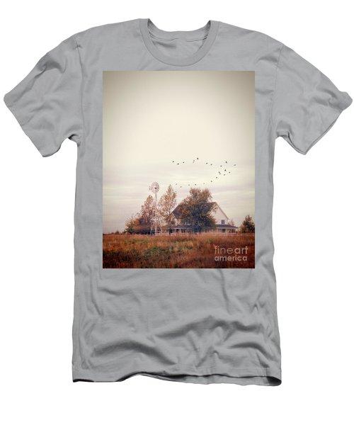 Men's T-Shirt (Slim Fit) featuring the photograph Farmhouse And Windmill by Jill Battaglia