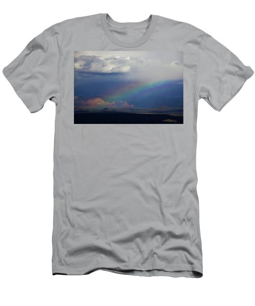 Men's T-Shirt (Slim Fit) featuring the photograph Fat Rainbow, Sedona Az by Ron Chilston