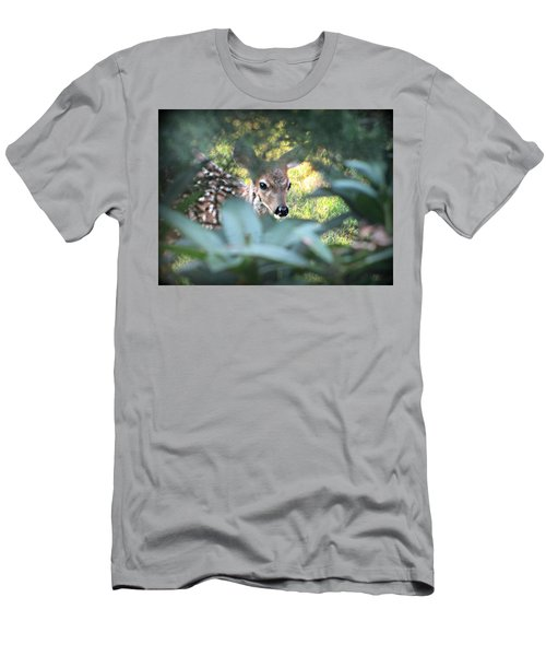 Fawn Peeking Through Bushes Men's T-Shirt (Athletic Fit)