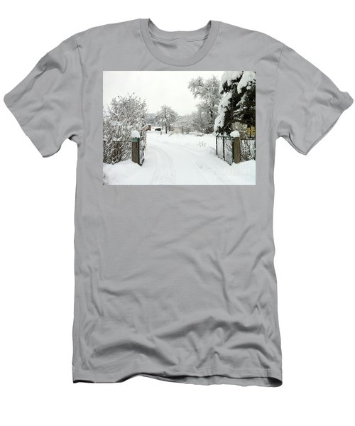 Men's T-Shirt (Slim Fit) featuring the photograph Fence And  Gate In Winter by Wilhelm Hufnagl