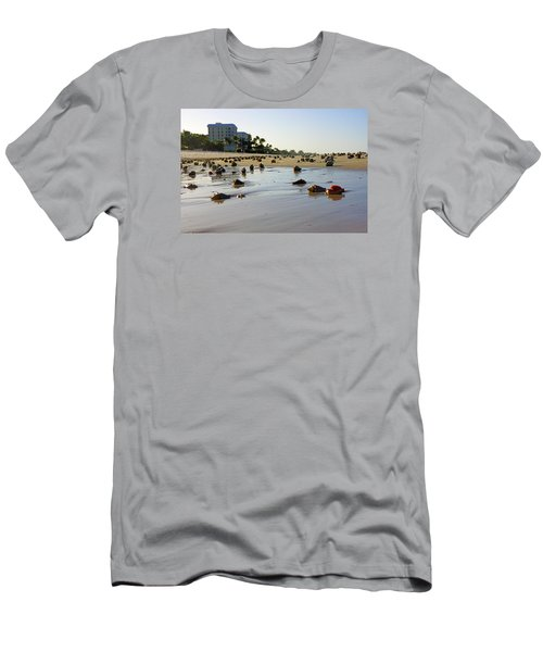 Fighting Conchs At Lowdermilk Park Beach In Naples, Fl  Men's T-Shirt (Slim Fit) by Robb Stan