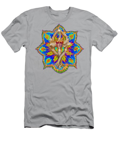 Fire Tree With Yhwh Men's T-Shirt (Athletic Fit)