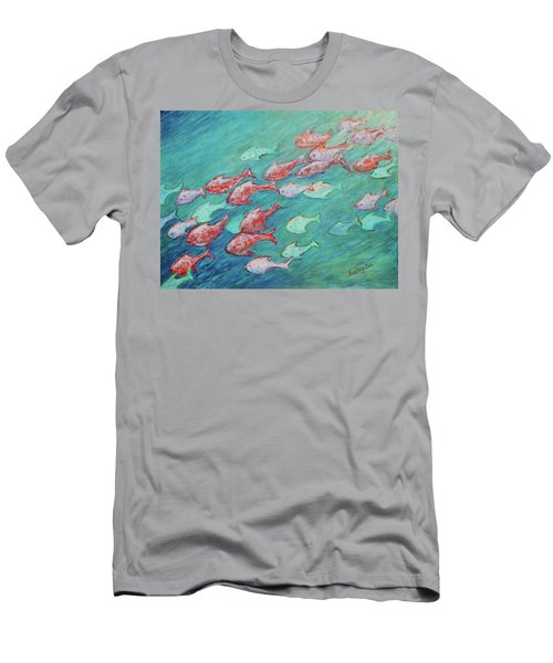 Men's T-Shirt (Athletic Fit) featuring the painting Fish In Abundance by Xueling Zou