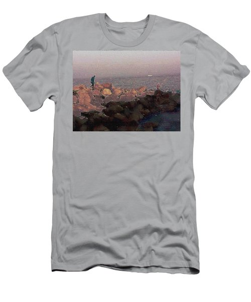 Fishermen On The Breakwater Men's T-Shirt (Athletic Fit)