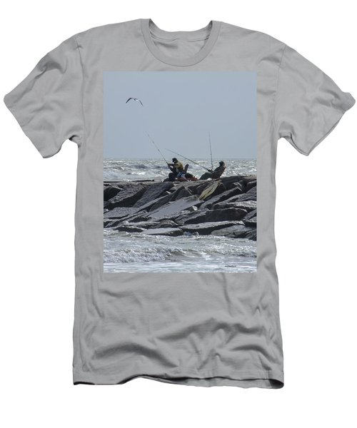 Fishermen With Seagull Men's T-Shirt (Athletic Fit)
