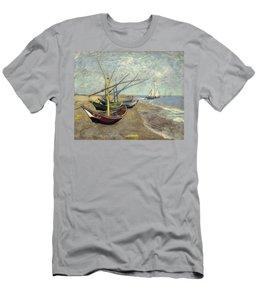 Men's T-Shirt (Athletic Fit) featuring the painting Fishing Boats On The Beach by Van Gogh