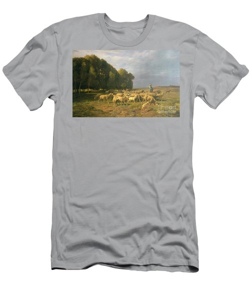 Flock Of Sheep In A Landscape Men's T-Shirt (Athletic Fit)