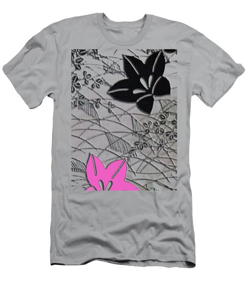 Men's T-Shirt (Slim Fit) featuring the digital art Floral Chirimen by Asok Mukhopadhyay