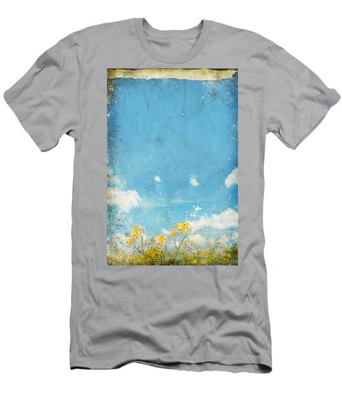 Floral In Blue Sky And Cloud Men's T-Shirt (Athletic Fit)