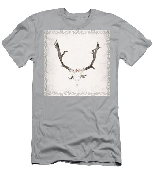 Floral Reindeer Skull  Men's T-Shirt (Slim Fit) by Michele Carter