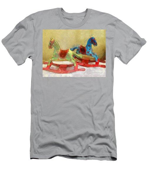 Floral Rocking Horses Men's T-Shirt (Athletic Fit)