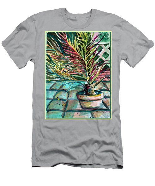Men's T-Shirt (Slim Fit) featuring the painting Florescent Palm by Mindy Newman