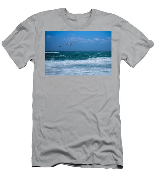 Men's T-Shirt (Slim Fit) featuring the photograph Florida Seagull In Flight by Jason Moynihan