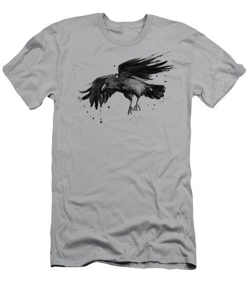 Flying Raven Watercolor Men's T-Shirt (Slim Fit) by Olga Shvartsur