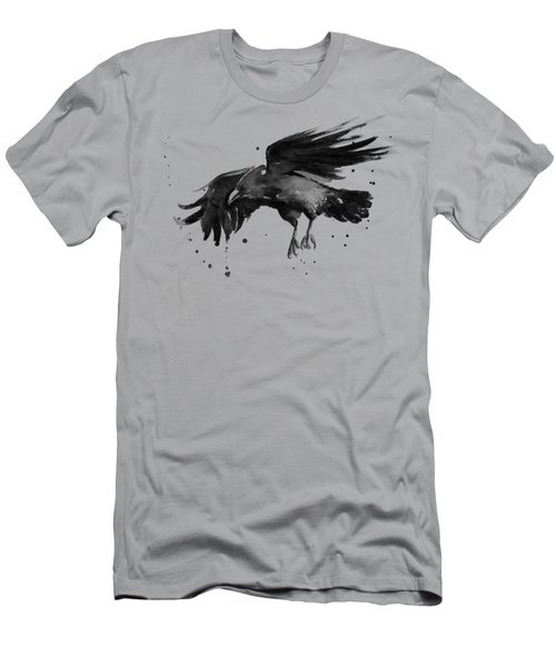 Flying Raven Watercolor Men's T-Shirt (Athletic Fit)