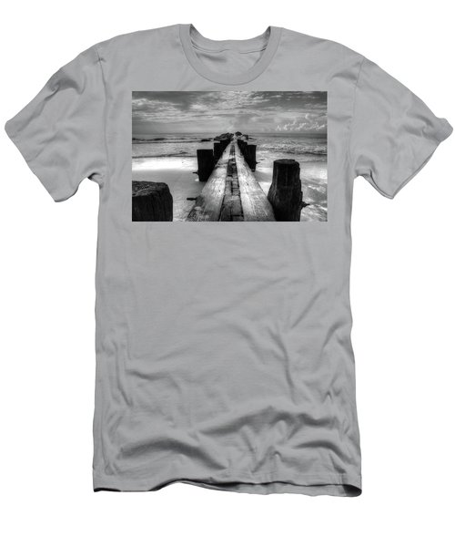 Folly Beach Pilings Charleston South Carolina In Black And White  Men's T-Shirt (Athletic Fit)