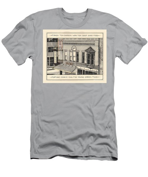 Men's T-Shirt (Athletic Fit) featuring the drawing Fongs Tea Garden by Chholing Taha