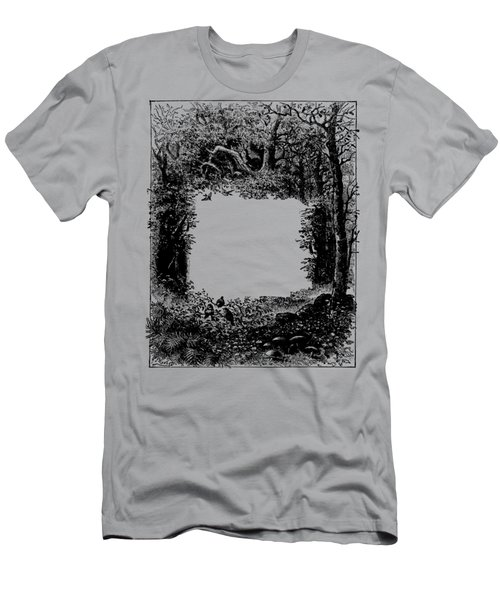 Forest Frame Dictionaryart Trees Ink Artwork  Men's T-Shirt (Athletic Fit)