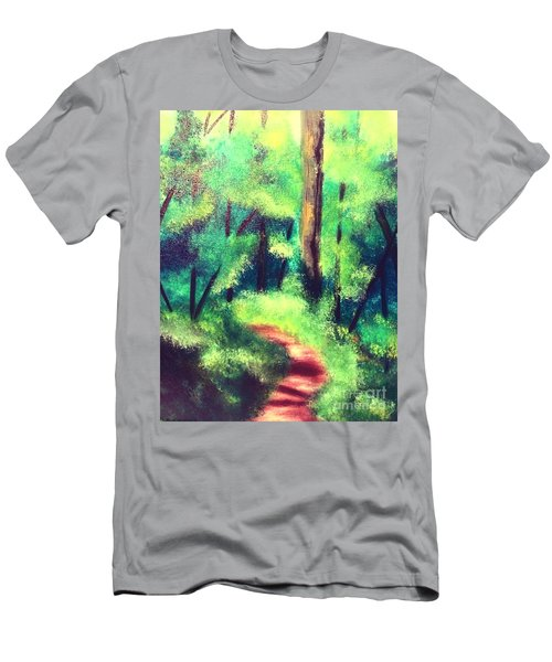 Men's T-Shirt (Athletic Fit) featuring the painting Forest Path by Denise Tomasura