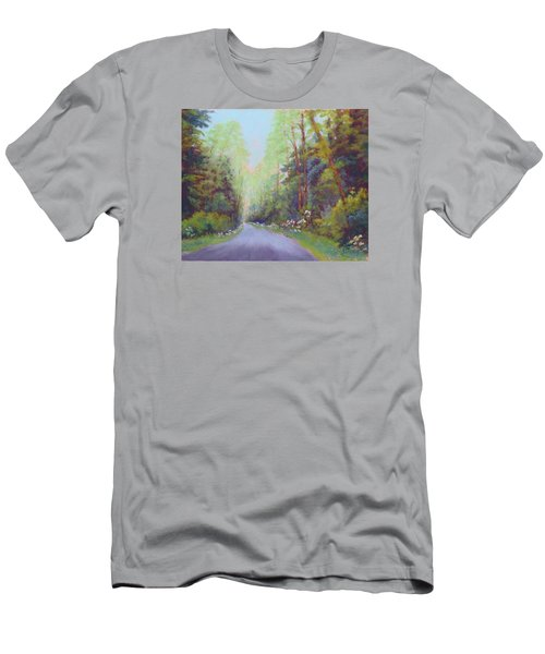 Men's T-Shirt (Slim Fit) featuring the painting Forest Road by Nancy Jolley