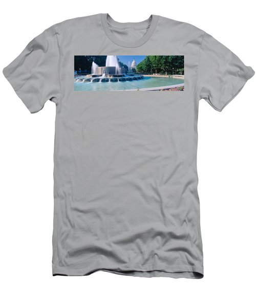 Fountain And Us Capitol Building Men's T-Shirt (Slim Fit) by Panoramic Images