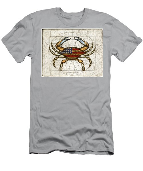 Men's T-Shirt (Slim Fit) featuring the painting Fourth Of July Crab by Charles Harden