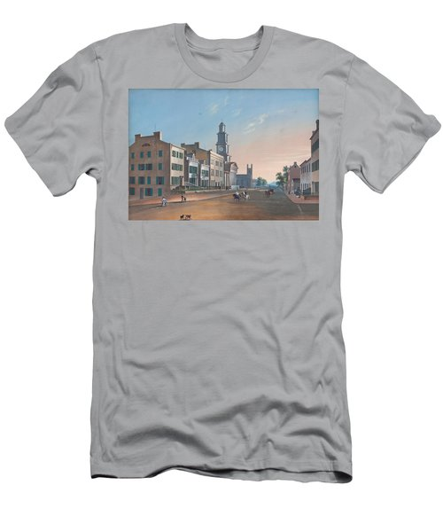 Men's T-Shirt (Slim Fit) featuring the painting Fourth Street. West From Vine by John Caspar Wild