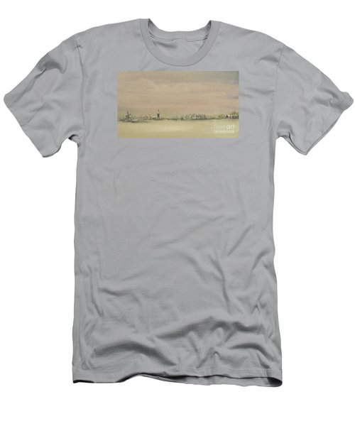 Men's T-Shirt (Slim Fit) featuring the painting Friesland Under Snow by Annemeet Hasidi- van der Leij