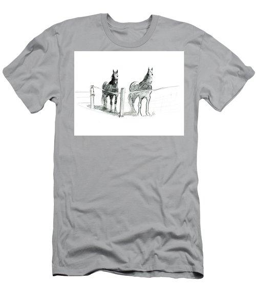 Friesian Horses Men's T-Shirt (Athletic Fit)