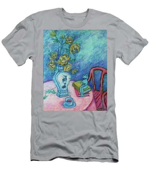 Men's T-Shirt (Athletic Fit) featuring the painting Frog Fishing Under Chrysanthemums by Xueling Zou