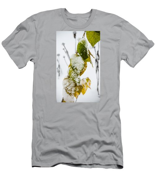 Men's T-Shirt (Slim Fit) featuring the photograph Frosted Green And Yellow by Deborah Smolinske