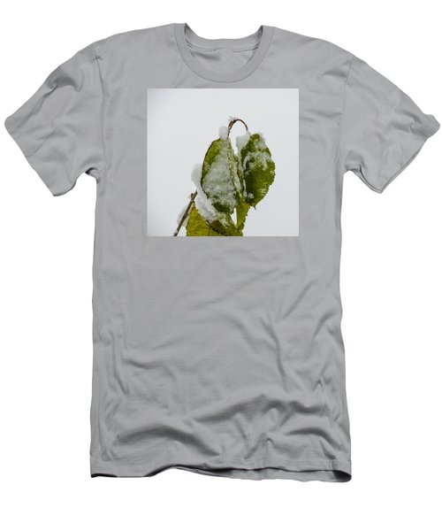 Men's T-Shirt (Slim Fit) featuring the photograph Frosty Green Leaves by Deborah Smolinske