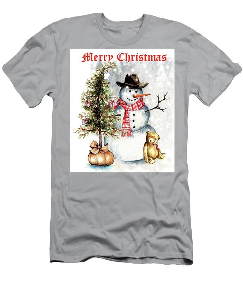 Frosty The Snowman Greeting Card Men's T-Shirt (Slim Fit) by Heidi Kriel