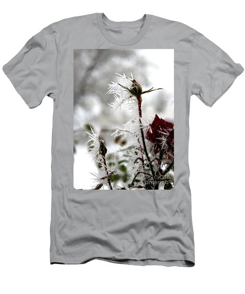 Frosty Winter Rose Buds Men's T-Shirt (Athletic Fit)