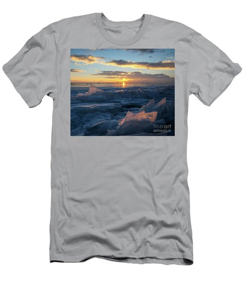 Frozen Sevan Lake And Icicles At Sunset, Armenia Men's T-Shirt (Slim Fit) by Gurgen Bakhshetsyan