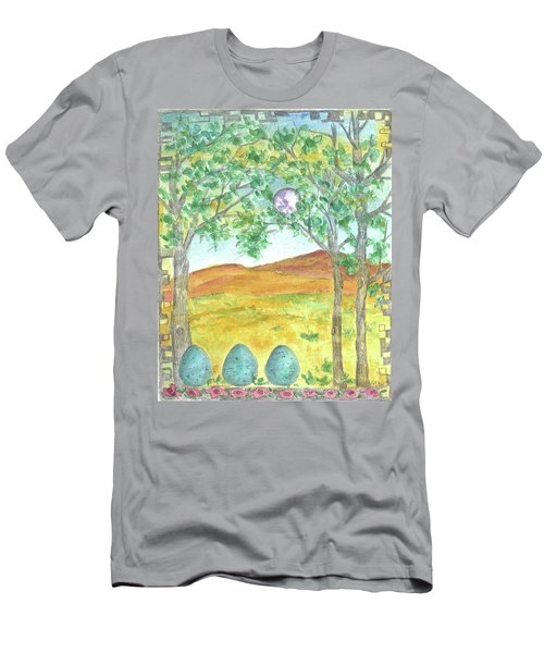 Men's T-Shirt (Slim Fit) featuring the drawing Full Moon And Robin Eggs by Cathie Richardson