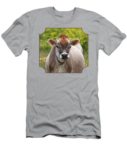 Funny Jersey Cow - Horizontal Men's T-Shirt (Slim Fit) by Gill Billington