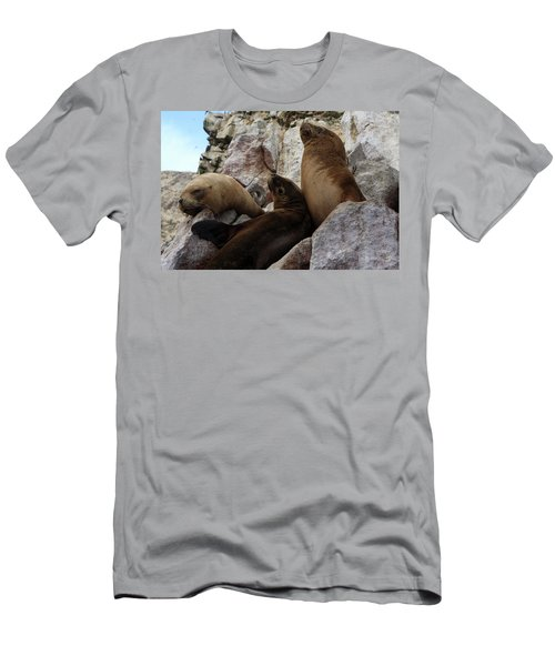Fur Seals On The Ballestas Islands, Peru Men's T-Shirt (Slim Fit) by Aidan Moran