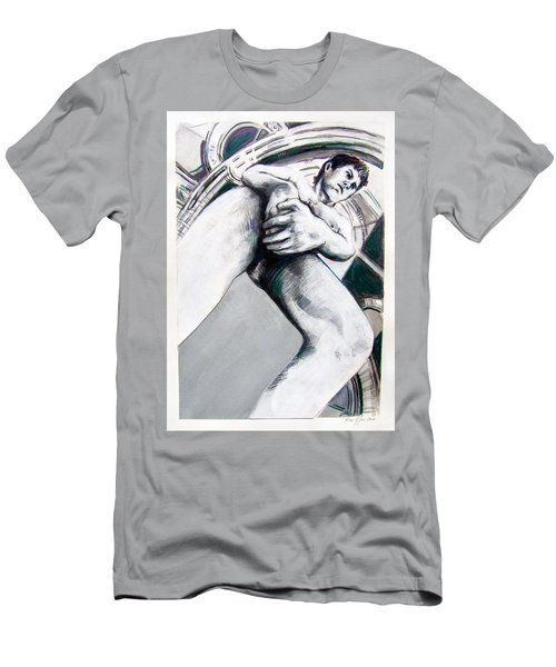 Men's T-Shirt (Athletic Fit) featuring the drawing Future Time Traveler Peter Pan by Rene Capone