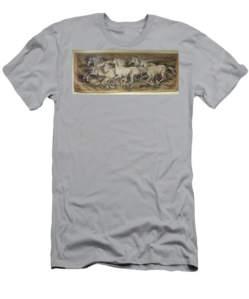 Men's T-Shirt (Slim Fit) featuring the drawing Galloping Stallions by Debora Cardaci