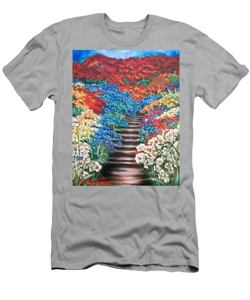 Men's T-Shirt (Slim Fit) featuring the painting Garden Cascade by Sigrid Tune