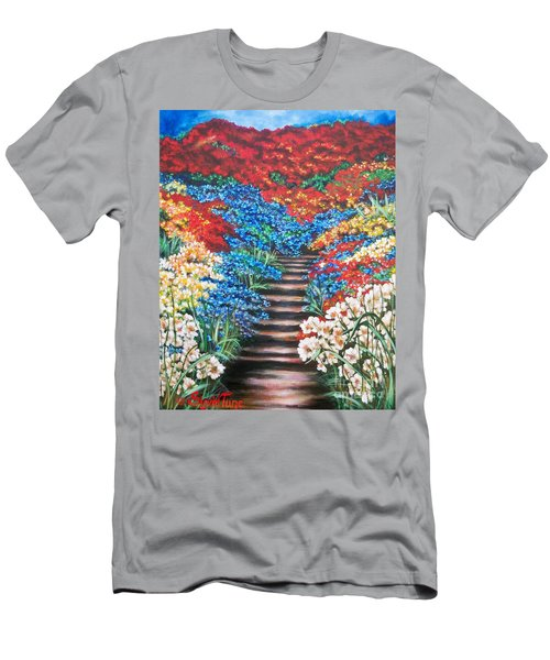Red White And Blue Garden Cascade.               Flying Lamb Productions  Men's T-Shirt (Athletic Fit)