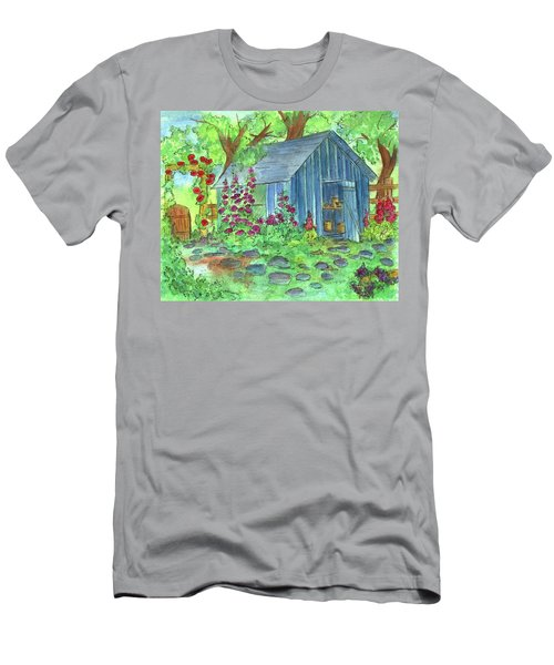 Men's T-Shirt (Slim Fit) featuring the painting Garden Potting Shed by Cathie Richardson