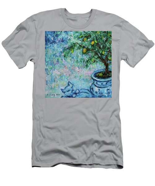 Men's T-Shirt (Athletic Fit) featuring the painting Garden Sleeping Cat by Xueling Zou