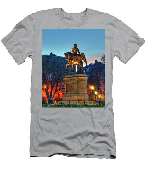 Men's T-Shirt (Slim Fit) featuring the photograph George Washington Statue In Boston Public Garden by Joann Vitali