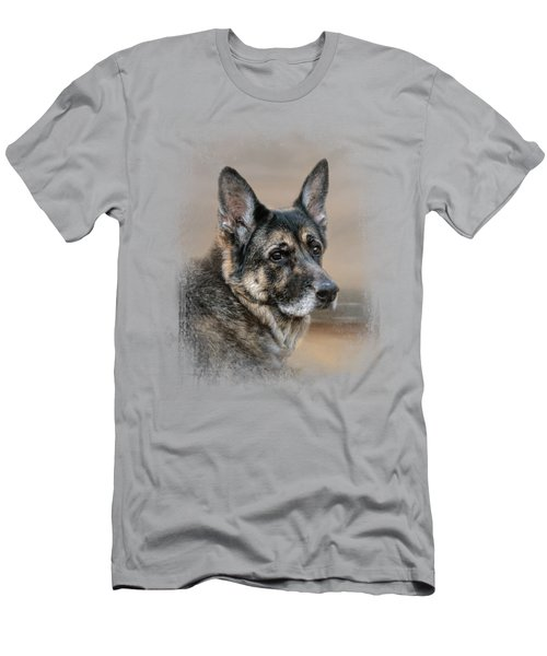 German Shepherd Dreaming Of The Beach Men's T-Shirt (Athletic Fit)