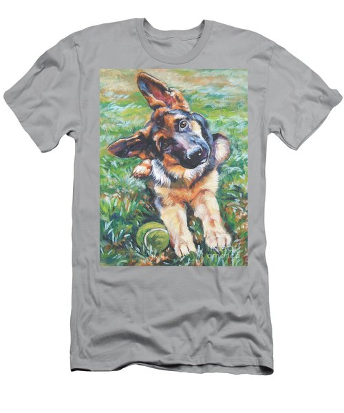 German Shepherd Pup With Ball Men's T-Shirt (Slim Fit) by Lee Ann Shepard