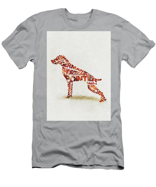 Men's T-Shirt (Athletic Fit) featuring the painting German Shorthaired Pointer Watercolor Painting / Typographic Art by Ayse and Deniz